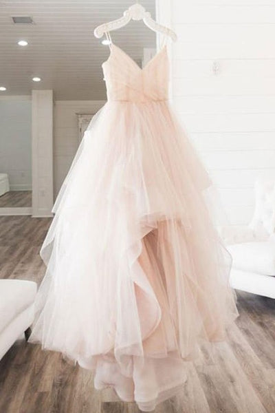 dusty-pink-tulle-ball-gown-wedding-dresses-with-double-straps-1