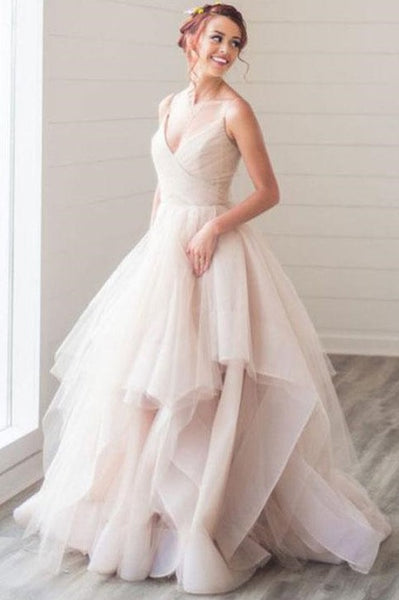 dusty-pink-tulle-ball-gown-wedding-dresses-with-double-straps