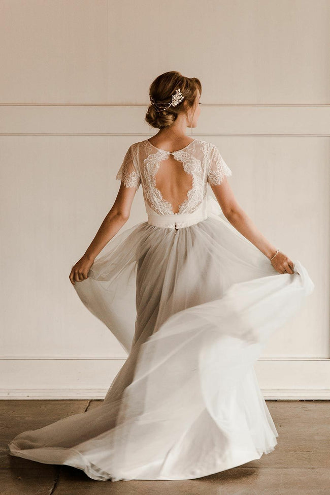 dusty-tulle-lace-short-sleeves-bridal-gown-with-sash-1