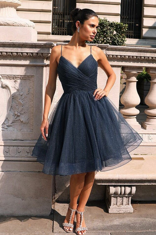 dusty-tulle-short-homecoming-gowns-and-dresses-with-pleated-v-neckline-bodice