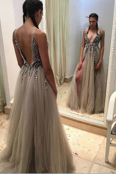 dusty-tulle-v-neckline-beaded-prom-dress-with-side-slit