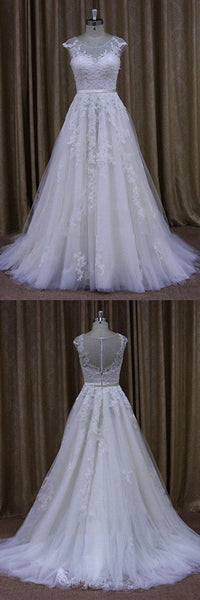 classic-a-line-appliques-tulle-wedding-dress-cap-sleeves-2
