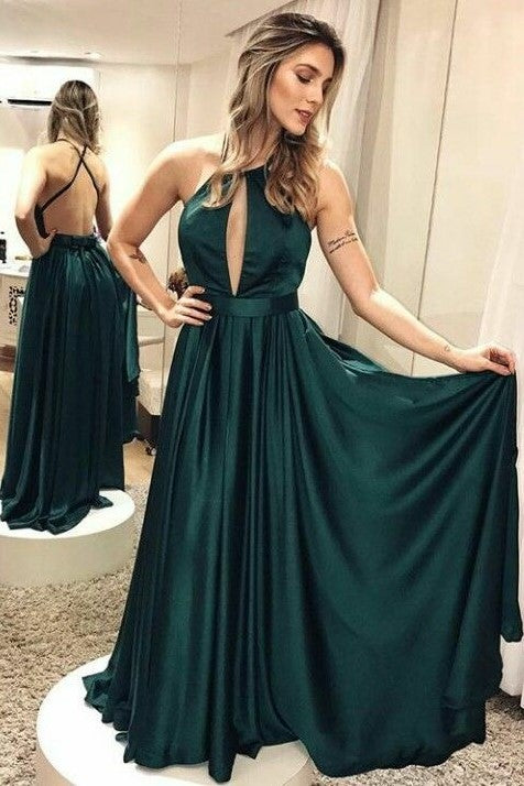 Elastic Satin Dark Green Backless Prom Dress with X-cross