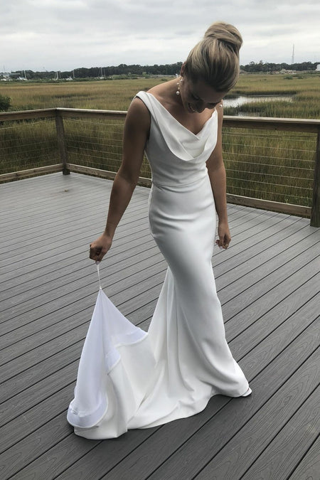 V-neckline A-line Simple Backless Beach Wedding Dress Ivory