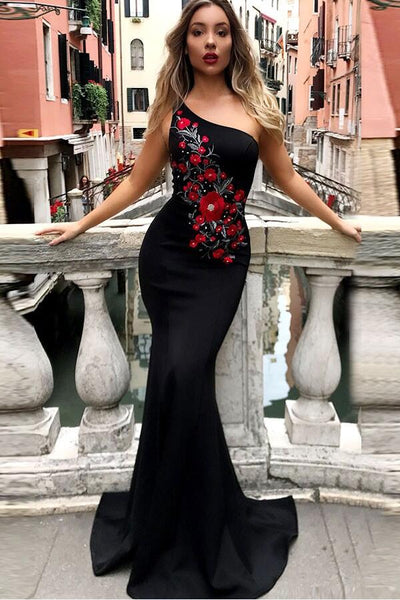 f59b9770c20 Embroidered Flowers Black Mermaid Evening Dress with One-shoulder –  loveangeldress