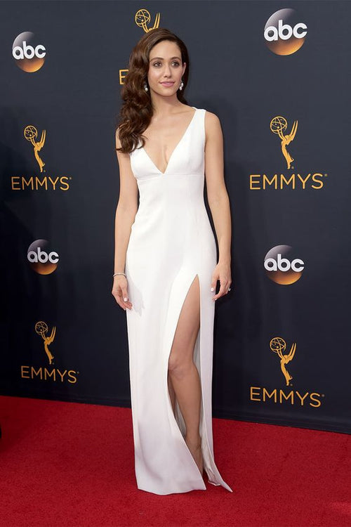 emmy-rossum-simple-long-white-celebrity-dresses-with-slit-side
