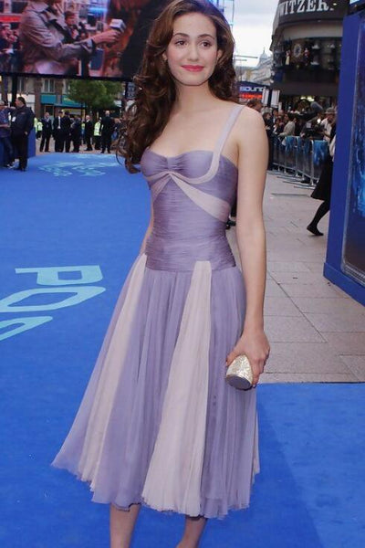 emmy-rossum-two-tone-tulle-cocktail-dresses-for-celebrity
