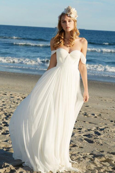 0fc068ba54 Exquisite Chiffon Summer Beach Wedding Dresses with Off-the-shoulder –  loveangeldress