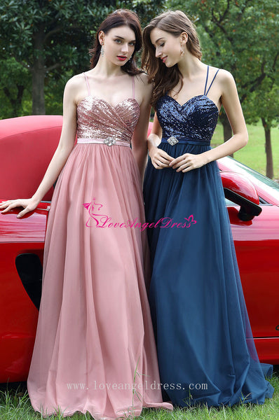 A-line Sequins Tulle Blue Prom Dresses with Spaghetti Straps