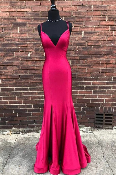 factory-made-fuchsia-evening-dresses-with-v-neckline