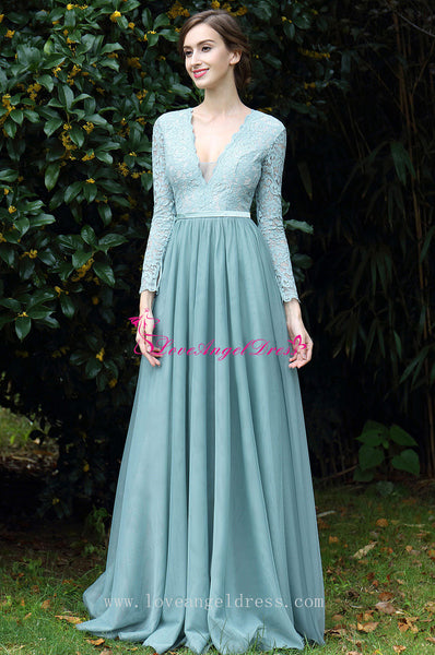 A-line Chiffon Lace Long Sleeves Evening Dresses with Plunging V-neckline