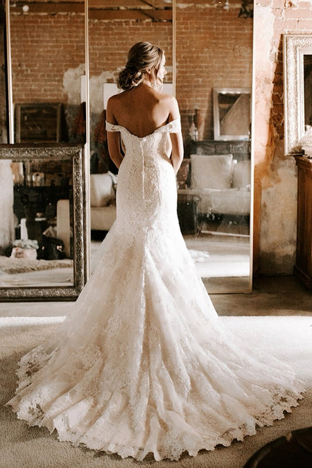 Ivory Lace Tulle Wedding Gown with Illusion Neckline