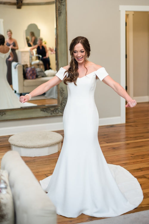 fit-flare-simple-bridal-dress-with-off-the-shoulder