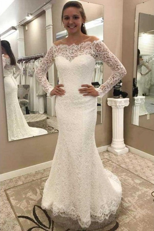 fit&flare-lace-off-the-shoulder-wedding-dresses-with-long-sleeves