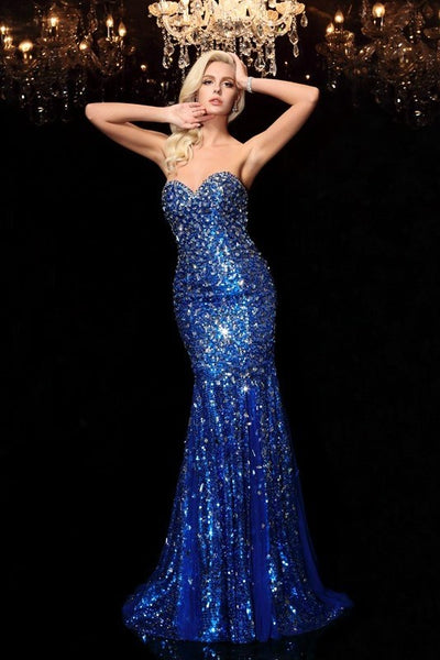 undefeated x sale best Fit&Flare Royal Blue Prom Dress Rhinestones Dinner Gowns