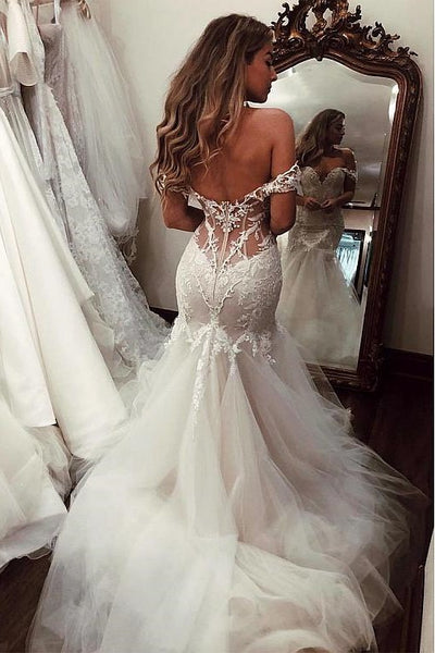 Fit&Flare Tulle Wedding Gown with Lace Off-the-shoudler Bodice