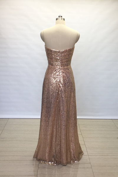 2b7614800f9a Floor Length Backless Sequin Bridesmaid Wedding Guests Dress ...