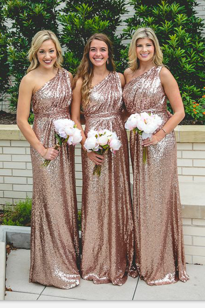 be8c0df81bc Floor Length Rose Gold Sequin Wedding Guest Dress One Shoulder –  loveangeldress