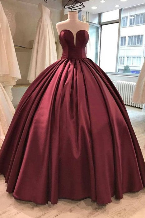floor-length-satin-burgundy-ball-gown-evening-dresses