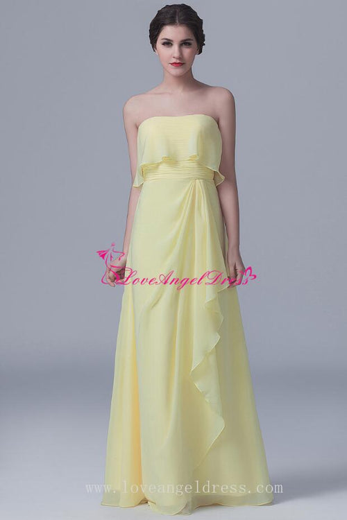 floor-length-strapless-chiffon-yellow-bridesmaid-dresses