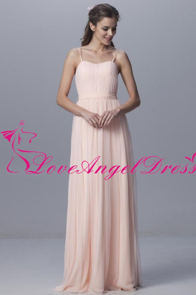 floor-length-tulle-pink-bridesmaid-dresses-with-spaghetti-straps