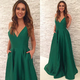 floor-length-v-neck-satin-simple-green-prom-gowns-1