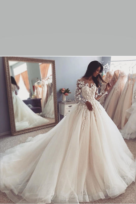 Floral Lace Long Sleeves Bride Gown with Tulle Skirt
