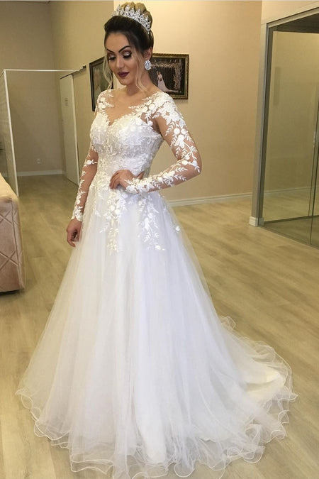 Lace High Neck Muslim Wedding Dresses Long Sleeves