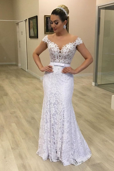 Floral Lace White Wedding Dress with Sheer Neckline