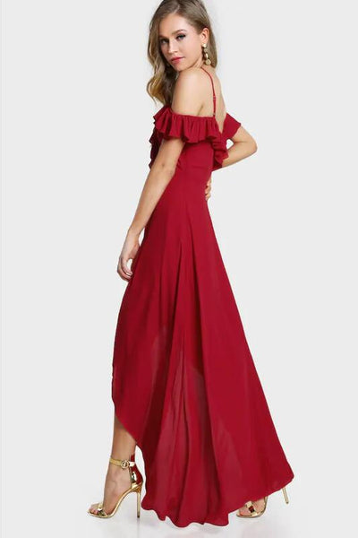 Flounce Chiffon Prom Dress with Wrap Split vestido formal