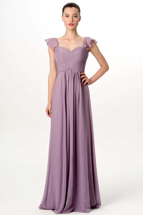 flounced-cap-sleeves-chiffon-lavender-grey-bridesmaid-dress