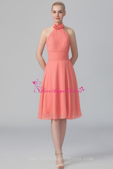 Dusty Pink A-line Tulle Short Wedding Guests Dresses with Belt