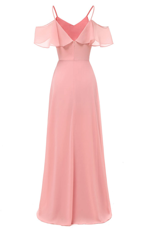 flounced-long-pink-bridesmaid-dresses-with-spaghetti-straps-1