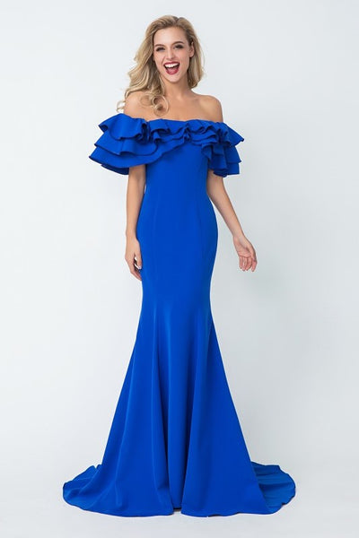 flounced-off-the-shoulder-blue-evening-dresses-with-mermaid-skirt