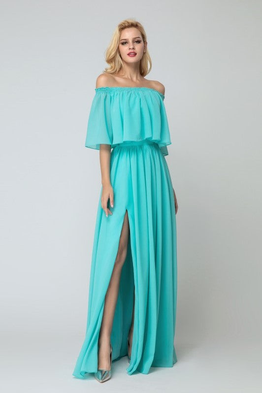 5abca4210b2 Flounced Off-the-shoulder Bridesmaid Chiffon Dresses with Side Slit ...