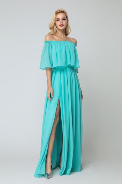 flounced-off-the-shoulder-bridesmaid-chiffon-dresses-with-side-slit