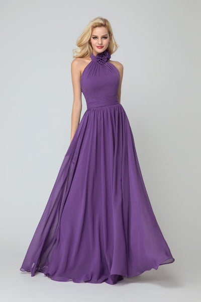 Flower High-neck Bridesmaid Dresses Purple Chiffon Skirt