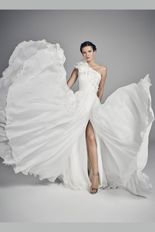 flower-single-shoulder-summer-wedding-dress-with-slit-side