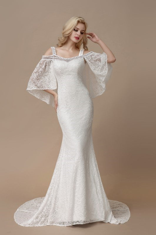 Flutter Sleeves Mermaid Lace Bridal Dresses With Pearls Neckline