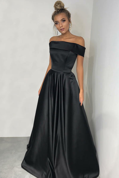 fold-off-the-shoulder-a-line-black-satin-formal-prom-gown