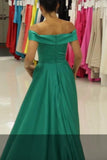 fold-off-the-shoulder-a-line-green-satin-formal-prom-gown