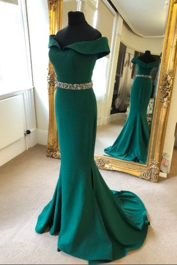 fold-off-the-shoulder-green-evening-dress-with-beaded-belt
