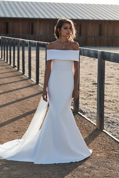 fold-off-the-shoulder-satin-mermaid-wedding-dresses-simple-1
