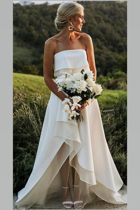 Lace Chiffon Beach Wedding Gown with Sleeves