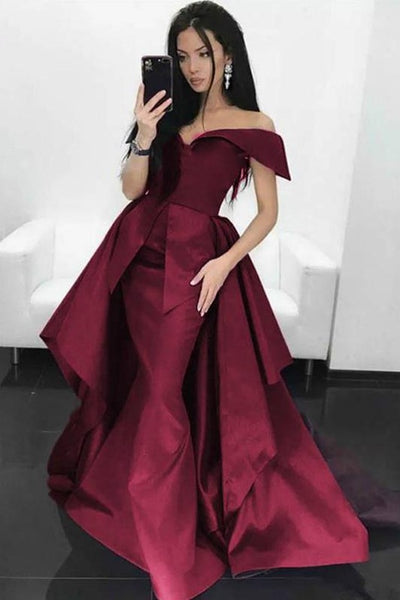 folded-off-the-shoulder-burgundy-prom-dress-with-overskirt