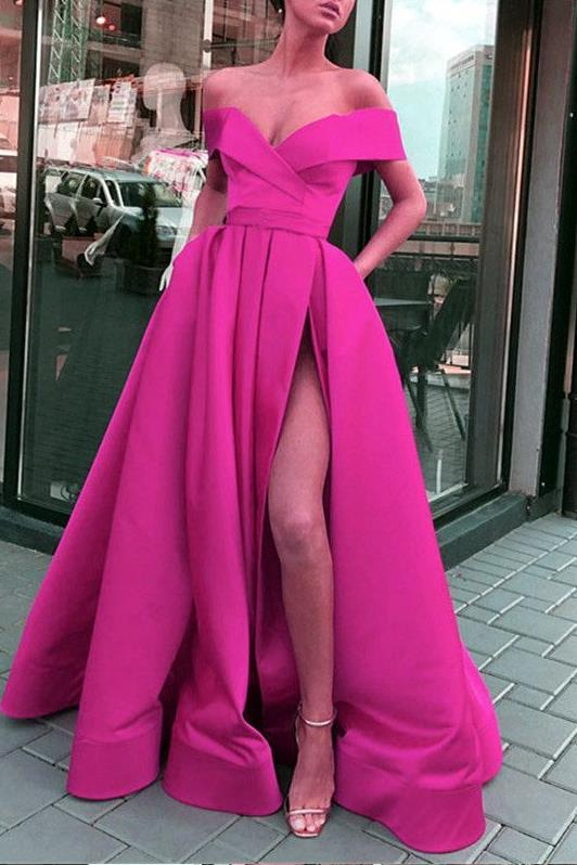 folded-off-the-shoulder-prom-long-dresses-with-side-slit-1