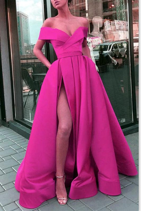 V-neckline Twin Pockets Red Long Prom Dress with Side Slit