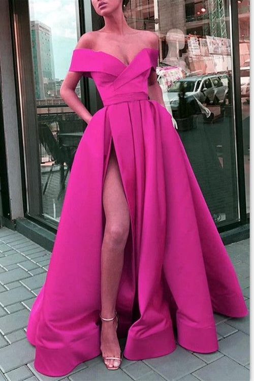 folded-off-the-shoulder-prom-long-dresses-with-side-slit