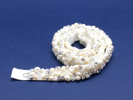 Made To Measure Pearls Crystals Wedding Belt with Clasp