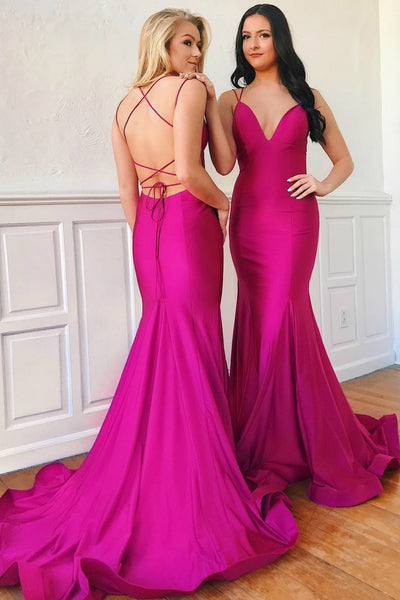 fuchsia-mermaid-long-evening-dresses-with-lace-up-back